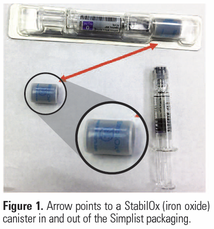 arrow points to a StabilOx (iron oxide) canister