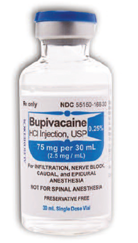 The company's bupivacaine vial also has a blue cap .