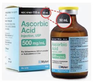 Figure 1. Mylan 50 mL ascorbic acid vial contains 25 g/50 mL; however, the carton and vial labels only list 500 mg/mL, failing to note the 25 g total contents anywhere on the labels.