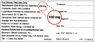 Figure 1. Label on vial of remdesivir lyophilized powder notes that it contains 100 mg.