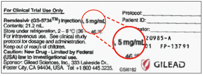 Figure 2. Label on vial of remdesivir injectable solution does not indicate the total amount (100 mg) of drug in each vial; instead, it lists a per mL amount (5 mg/mL) and below that, the total contents of the vial, 21.2 mL, which can be easily missed.