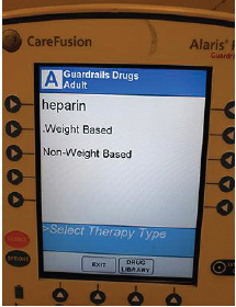 "Figure 1. When programming a heparin infusion, users must select whether the dose is ""weight based"" or ""non-weight based."""