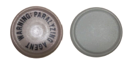 Figure 1. Images of currently approved cap (left) and temporary cap (right) for vecuronium bromide injection 10 mg vial and 20 mg vial.