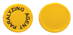 Figure 2. Images of currently approved cap (left) and temporary cap (right) for rocuronium bromide injection, 50 mg per 5 mL and 100 mg per 10 mL.